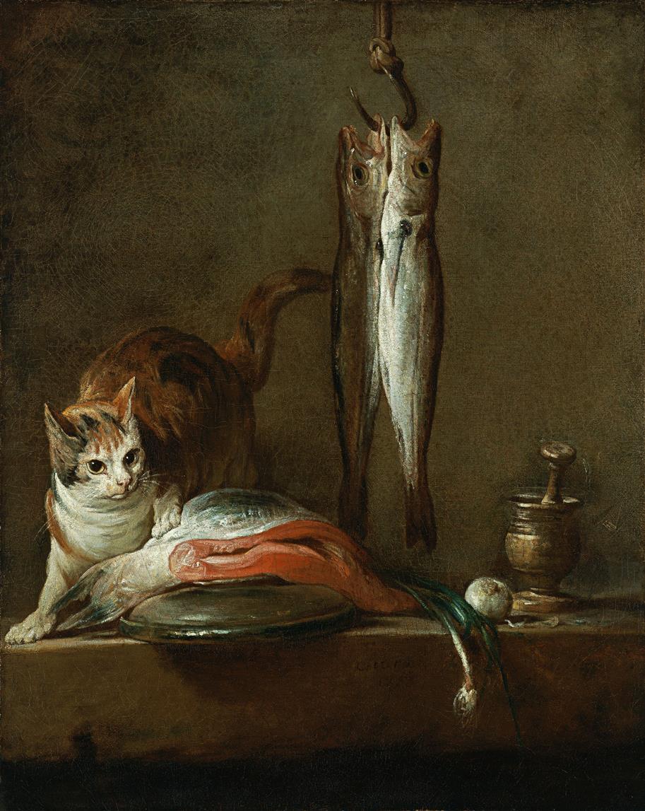 Natura morta con gatto e pesce